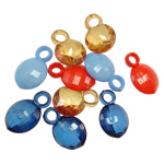 Pendants akrilik, Oval, i tejdukshëm, ngjyra të përziera, 17-18mm, : 3-4mm, 5KG/Shumë,  Shumë
