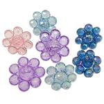 Beads transparente akrilik, Lule, Ngjyra AB kromuar, i tejdukshëm, ngjyra të përziera, 18x11mm, : 3mm, 5KG/Shumë,  Shumë