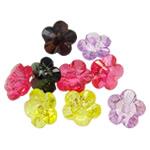 Beads transparente akrilik, Lule, i tejdukshëm, ngjyra të përziera, 24x14mm, : 3mm, 5KG/Shumë,  Shumë