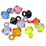 Pendants akrilik, Bicone, i tejdukshëm, ngjyra të përziera, 16x10mm, : 3.5mm, 5KG/Shumë,  Shumë