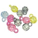 Pendants akrilik, Round, Ngjyra AB kromuar, i tejdukshëm, ngjyra të përziera, 16x10mm, : 3.5mm, 5KG/Shumë,  Shumë