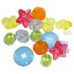 Beads akrilik të përziera, Shape përziera, i tejdukshëm, ngjyra të përziera, 8-22mm, : 2-3mm, 5KG/Shumë,  Shumë