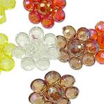 Pendants akrilik, Lule, Ngjyra AB kromuar, i tejdukshëm, ngjyra të përziera, 18x11mm, : 3mm, 5KG/Shumë,  Shumë
