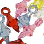 Pendants akrilik, Bicone, Ngjyra AB kromuar, i tejdukshëm, ngjyra të përziera, 20x8mm, : 3mm, 5KG/Shumë,  Shumë