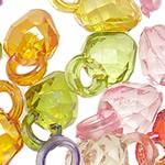Pendants akrilik, Lulushtrydhe, Ngjyra AB kromuar, i tejdukshëm, ngjyra të përziera, 14.50x9x7mm, : 3mm, 5KG/Shumë,  Shumë