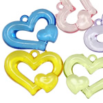 Pendants akrilik, Zemër, i tejdukshëm, ngjyra të përziera, 27x34x6mm, : 3mm, 5KG/Shumë,  Shumë