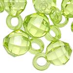 Pendants akrilik, Round, i tejdukshëm, e gjelbër, 16x10mm, : 3.5mm, 5KG/Shumë,  Shumë