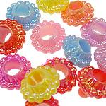 AB-ngjyra akrilik Beads kromuar, Lule, Ngjyra AB kromuar, ngjyra të forta, ngjyra të përziera, 12x7mm, : 5mm, 5KG/Shumë,  Shumë