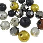 Beads akrilik të përziera, Shape përziera, ngjyra të përziera, 8-12mm, : 2-2.5mm, 5KG/Shumë,  Shumë
