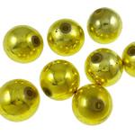 Beads praruar akrilik, Round, ngjyrë ari praruar, qetë, asnjë, 14mm, : 2.5mm, 5KG/Shumë,  Shumë