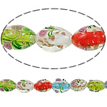 Goldsand Lampwork Perlen, oval, 16x11.50mm, Bohrung:ca. 2-2.5mm, Länge:12.5 ZollInch, 10SträngeStrang/Menge, verkauft von Menge