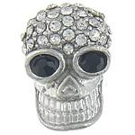 Alloy zink Beads diamant i rremë, Kafkë, ngjyrë platin praruar, me diamant i rremë, asnjë, , nikel çojë \x26amp; kadmium falas, 20x14x7mm, : 2mm, 50PC/Qese,  Qese