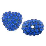 Rrëshirë Beads diamant i rremë, Rrëshirë diamant i rremë, Zemër, asnjë, me diamant i rremë, Royal Blue, 13x14x10mm, : 2mm, 30PC/Qese,  Qese