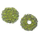 Rrëshirë Beads diamant i rremë, Rrëshirë diamant i rremë, Round, asnjë, me diamant i rremë, ulliri, 10mm, : 3mm, 50PC/Qese,  Qese