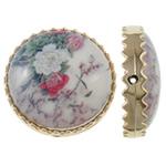 Beads Printime akrilik, Round Flat, shtypje, e bardhë, 38x12mm, : 2mm, 78PC/Qese,  Qese