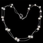 925 Sterling Silver gjerdan perlash, Pearl kulturuar ujërave të ëmbla, e bardhë, 5-6mm, : 16Inç,  16Inç,