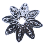 Zinklegierung Perlenkappe, Blume, antik silberfarben plattiert, frei von Nickel, Blei & Kadmium, 14x4mm, Bohrung:ca. 2mm, ca. 2000PCs/kg, verkauft von kg