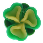 Beads polimer balta, Polymer Clay, Lule, asnjë, e gjelbër, 16x15x9mm, : 2mm, 100PC/Qese,  Qese