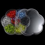 Beads akrilik të përziera, Round, ngjyra të përziera, 102x95x19mm, 7-17mm, : 1-2mm,  Kuti