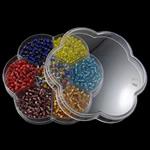 Seed Glass Beads përziera, i përzier, 102x95x19mm, 3x3.6mm, : 1mm,  Kuti