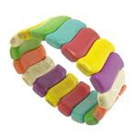 Fashion Bracelets Turquoise, Bruz sintetike, Nuggets, i lyer, ngjyra të përziera, 31x11x6-7mm, : 7.8Inç, 20Fillesat/Shumë,  Shumë
