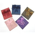 Karton Schmuckset Kasten, Anhänger & Fingerring & Ohrring & Halskette, Rechteck, gemischte Farben, 80x70x30mm, 72PCs/Menge, verkauft von Menge