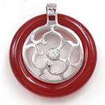 Pendants Red agat, Petull e ëmbël në formë gjevreku, 30x33x7mm, : 4x2mm, 5PC/Qese,  Qese
