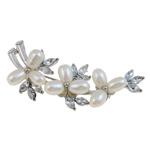 Pearl ujërave të ëmbla karficë, Pearl kulturuar ujërave të ëmbla, with Tunxh, Lule, e bardhë, 57x27x16mm,  PC