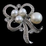 Pearl ujërave të ëmbla karficë, Pearl kulturuar ujërave të ëmbla, with Tunxh, Lule, e bardhë, 37x41x17mm,  PC