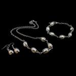Natyrore kulturuar Pearl ujërave të ëmbla bizhuteri Sets, Pearl kulturuar ujërave të ëmbla, Round, e bardhë, 6-7mm, 34mm, :18.5Inç,  6.5Inç,  I vendosur