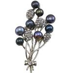 Pearl ujërave të ëmbla karficë, Pearl kulturuar ujërave të ëmbla, with Tunxh, Lule, e zezë, 41x63x15mm,  PC