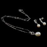 Natyrore kulturuar Pearl ujërave të ëmbla bizhuteri Sets, Pearl kulturuar ujërave të ëmbla, Lot, natyror, e bardhë, 26x11mm, 24x8mm, :16Inç,  I vendosur