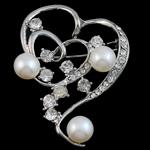 Karficë zbukurimi diamant i rremë, Zemër, me diamant i rremë, argjend, 33x45x15mm, 8-9mm,  PC