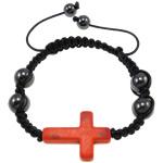 Shamballa Bracelets gur i çmuar, Bruz Natyrore, with Cord Wax & Jo-magnetike kuqe e mbylltë, Kryq, 30x21.50x6mm, :7.5Inç,  7.5Inç,