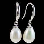 Një palë vathë Pearl ujërave të ëmbla, Pearl kulturuar ujërave të ëmbla, Shape Tjera, asnjë, e bardhë, 8-9mm,  Palë