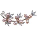 Pearl ujërave të ëmbla karficë, Pearl kulturuar ujërave të ëmbla, with Tunxh, Lule, rozë, 57x27x16mm,  PC