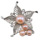Pearl ujërave të ëmbla karficë, Pearl kulturuar ujërave të ëmbla, with Tunxh, Lule, vjollcë, 46x47x16mm,  PC