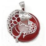 Pendants Red agat, Petull e ëmbël në formë gjevreku, 21x23x7mm, : 3x5mm, 5PC/Qese,  Qese