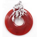 Pendants Red agat, Petull e ëmbël në formë gjevreku, 30x38x6mm, : 3x3mm,  PC