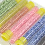 Gemischte Glas Rocailles, Glas-Rocailles, mit Kunststoff, gemischte Farben, 80x12.5mm, 2x1.9mm, Bohrung:ca. 1mm, 10BoxenFeld/Tasche, verkauft von Tasche