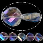 Imitim Swarovski Crystal Beads, Kristal, Round Flat, asnjë, imitim kristal Swarovski & makinë faceted, asnjë, 14x14x7mm, : 1mm, 100PC/Shumë,  Shumë