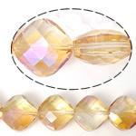 Imitim Swarovski Crystal Beads, Kristal, Katror, asnjë, imitim kristal Swarovski & makinë faceted, Silver shampanjë, 15x15x9mm, : 1mm, 100PC/Shumë,  Shumë