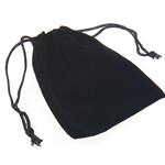 Drawstring çanta bizhuteri, Velveteen, Drejtkëndësh, e zezë, 90x105mm, 100PC/Shumë,  Shumë