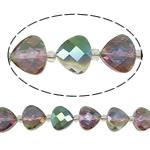 Beads Crystal Heart, Kristal, Trekëndësh, colorful kromuar, double-njëanshme, 13x12x7.50mm, : 1.5mm, :5.7Inç, 10Fillesat/Qese,  Qese