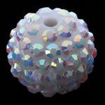 Beads diamant i rremë Rrëshirë, Rrëshirë diamant i rremë, Daulle, asnjë, e bardhë, 16x18mm, : 3mm, 100PC/Qese,  Qese