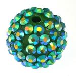 Beads diamant i rremë Rrëshirë, Rrëshirë diamant i rremë, Daulle, asnjë, e gjelbër, 16x18mm, : 2.5mm, 100PC/Qese,  Qese