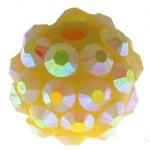 Beads diamant i rremë Rrëshirë, Rrëshirë diamant i rremë, Daulle, asnjë, i verdhë, 12x14mm, : 2.5mm, 100PC/Qese,  Qese