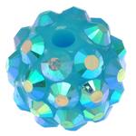 Harz Strass Perlen, Trommel, himmelblau, 10x12mm, Bohrung:ca. 2mm, 100PCs/Tasche, verkauft von Tasche