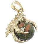 Pendants gur i çmuar bizhuteri, Unakite, with Tunxh, Kafshë, me diamant i rremë, 27x35x20mm, : 7x10mm, 10PC/Qese,  Qese