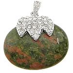 Pendants gur i çmuar bizhuteri, Unakite, with Alloy zink, Oval, me diamant i rremë, 40x37x12mm, : 4x7mm, 10PC/Qese,  Qese